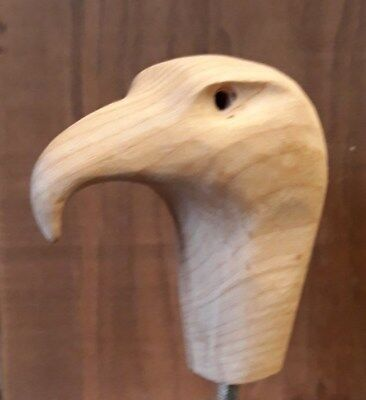 Eagles HeadCarving Blank for Walking Stick - in Cherry.