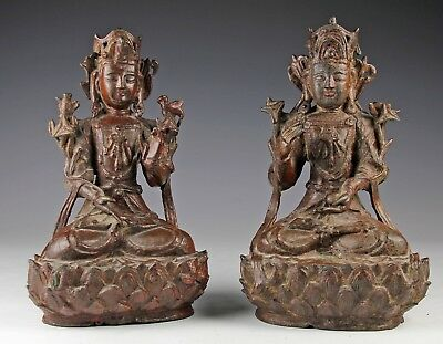 Pair Of Antique Chinese Lacquered Bronze Statues Of Seated Figures- Ming Dynasty