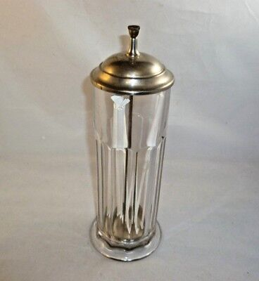 Antique Optical Glass Pull Up Straw Dispenser Storage Jar with Chrome