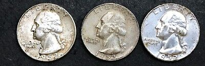 1952 P, D and S Silver Washington Quarters, Estate Coins, Lot of THREE