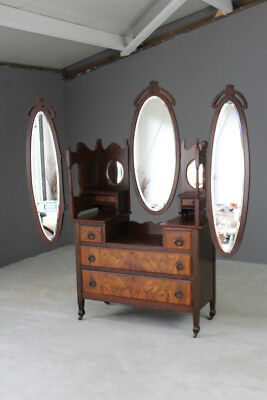 Antique Late Victorian Walnut Dressing Table Chest