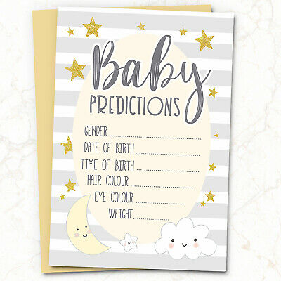 10x Baby Shower Prediction + Advice Cards Games ~ Words of Wisdom Boy Girl (G53)