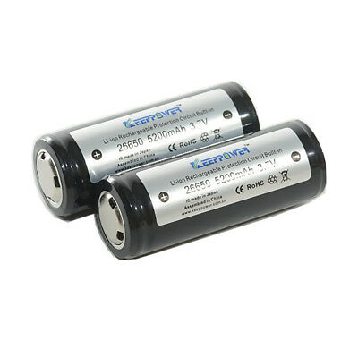 2 x Top Quality KeepPower 5200mAh 26650 Protected 3.7V Li-ion Batteries