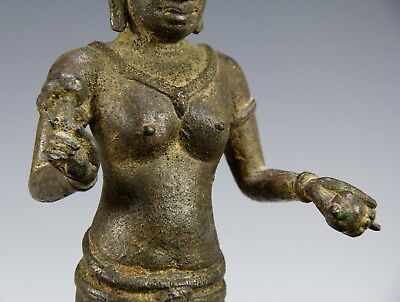 Fine Antique Cambodian Khmer Bronze Statue Of Standing Figure - 13Th Century