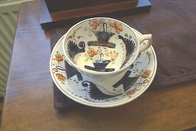 """Mid 19th Century Gaudy Welsh Basket Pattern Cup & Saucer """"NO DAMAGE"""""""