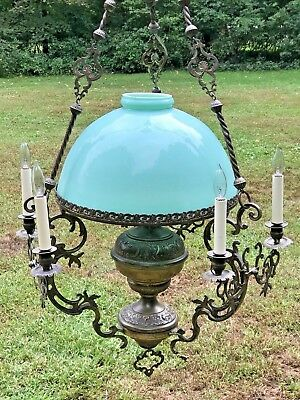 Antique Brass Victorian Oil Chandelier Converted Blue Milk Glass Lamp Shade