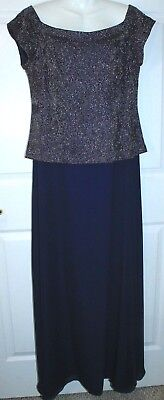 David's Bridal Mother Of The Bride Dress Gown Navy Blue Boat Neck Sz 16 Sparkly