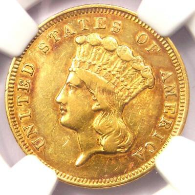 1857-S Three Dollar Indian Gold Coin $3 - Certified NGC AU Details - Rare Date!