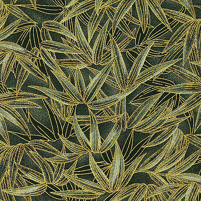 Japanese Cotton Print Fabric by FQ Oriental Wild Bamboo Leaves Asian Forest VJ22