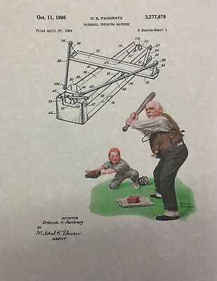 Vintage Baseball Throwing Machine Patent Art Print with Norman Rockwell image