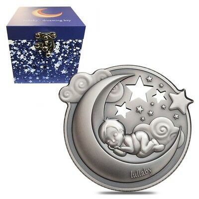 2018 1 oz Cook Islands Lullaby Dreaming Boy High Relief Antiqued Silver Coin $5