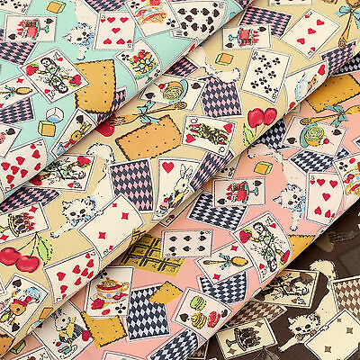 100% Cotton Fabric FQ Playing Cards Kitty Cat Rabbit Strawberry Cherry Cake VA95