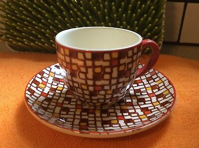 Rare Villeroy & Boch France-Saar Konfetti Demitasse Tea Cup And Saucer Set