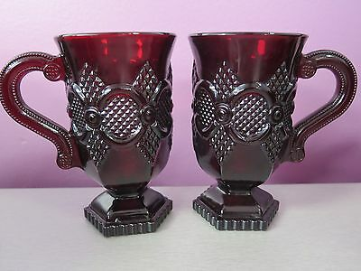 Avon 1876 Cape Cod Ruby Red (set of 2 Pedestal Coffee Mugs) Vintage