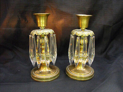 Lovely Old Antique Pair Brass Gilt Candlesticks Glass Lustre Chandelier Droppers