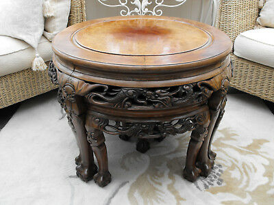 Old Vintage Antique Chinese Hardwood Nest Of Coffee Side Tables Walnut Rosewood