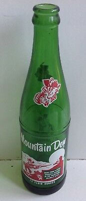 RARE 12oz MOUNTAIN DEW CHECKERED HILLBILLY SODA BOTTLE NICE CLEAN LOGO!!!