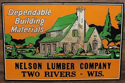 Vintage Embossed NELSON LUMBER COMPANY Hardware Sign TWO RIVERS Wisconsin RARE!