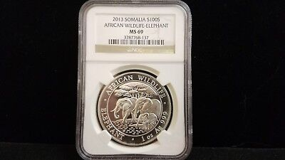 2013 Somalia African Wildlife-Elephant 1 Oz. Silver Coin NGC MS 69