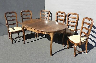 Vintage French Country Carved Oak Wood Dining Table & Six Ladder Back Chairs