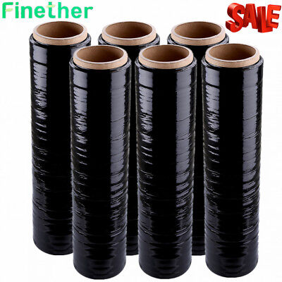 1/2/4/6x Black Strong Roll Pallet Stretch Shrink Wrap Parcel Packing Cling Film