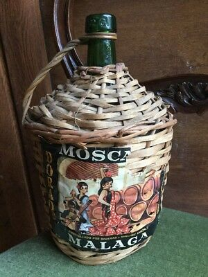 Spanish Vintage Muscatel Wine Demijohn Bottle Wicker Basket Dame Jeanne Glass