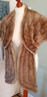 Vintage 50s 60s muskrat mink brown real fur stole collar cape coat jacket
