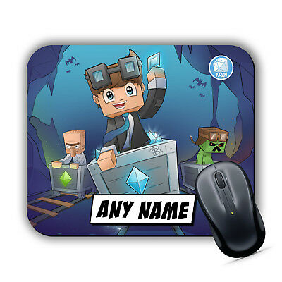 DAN TDM PERSONALISED Mouse Mat Pad Laptop PC Computer Gaming Diamond Minecart