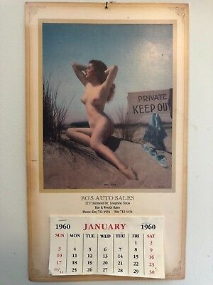 Bo's Auto Sales Longview Tx Ephemera Advertising Nude Girl Pin Up Calendar