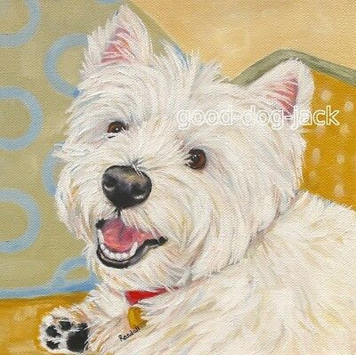 """West Highland Terrier WESTIE MATTED SQUARE PRINT Painting """"SAYING HI"""" RANDALL"""