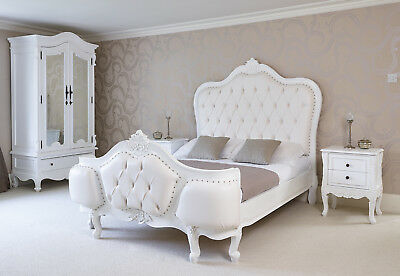 French Rococo hand carved super king bed. Painted & upholstered to order in Kent