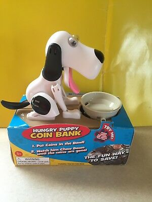 Hungry Puppy Coin Bank White And Black Hound Dog Bank New
