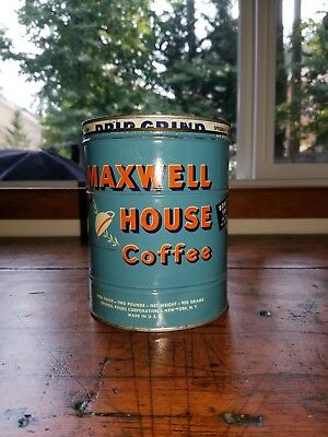 vintage 2/two pound blue label Maxwell House Coffee tin with lid original VGC