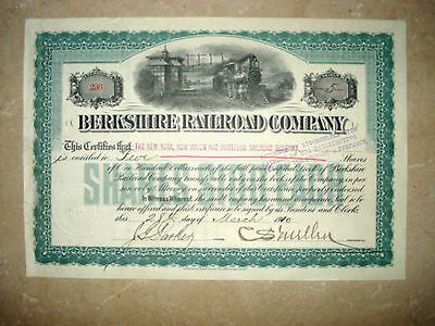 Stock Certificate - Berkshire Railroad Company Signed Charles S. Mellen 1910