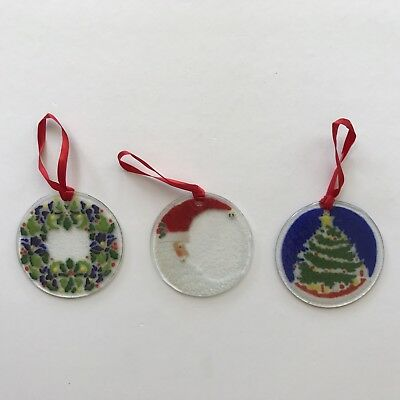 Peggy Karr Glass Ornaments Holly Berry Santa Claus Christmas Tree Lot of 3