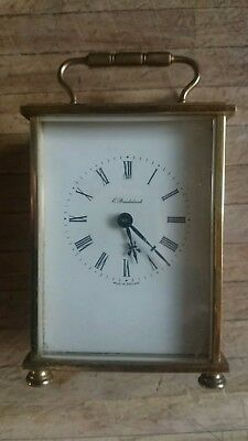 Brass Vintage Carriage Clock With Quartz Movement Spares Or Repairs