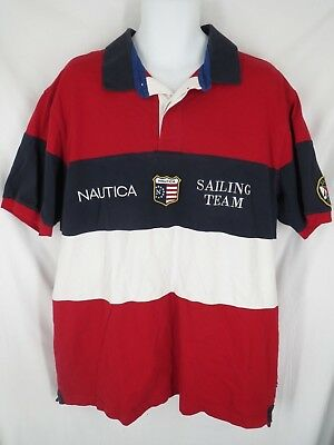 201b1288b03 Nautical Sailing Team Men's Size 2XL 2XLarge Red White Blue Rugby Polo Shirt