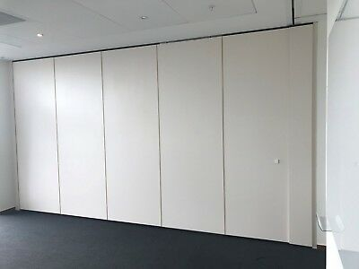 5.14 METRE WIDE ACOUSTIC FOLDING WALL SYSTEM WITH TOP TRACK AND END PANELS x 2