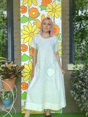 Antique 1920s White Cotton Embroidered Cut Out Day Dress Edwardian House Dress L