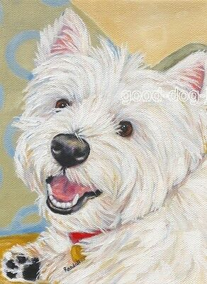"""West Highland Terrier ACEO WESTIE PRINT Painting """"SAYING HI"""" Dog Art RANDALL"""