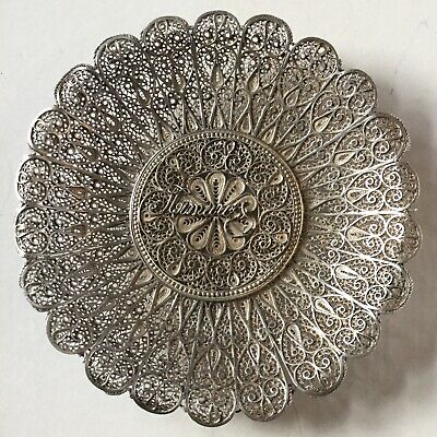 Antique Vintage Sterling Silver Filigree Signed Small Change Dish Floral