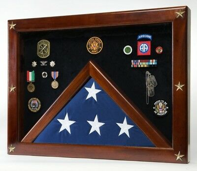 (Blue) - Military Medal Shadow Box with Display Case for Memorial Flag - Blue