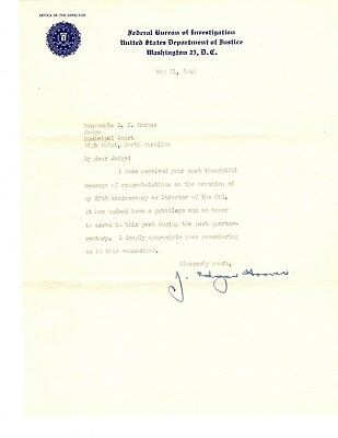 J. Edgar Hoover letter signed May 1949--25 years as FBI Director