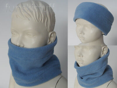 Infant baby boys girls SLATE BLUE NECK WARMER fleece scarf snood school toddler