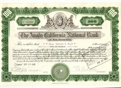 1940 The Anglo California National Bank Vintage Stock Certificate United States