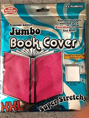 Jumbo Fabric Book Cover Pink Stretchable It's Academic XXL NWT