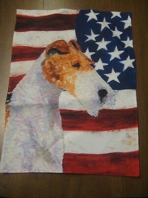 USA American Flag with Wire Fox Terrier Garden Flag Pet Lover NEW