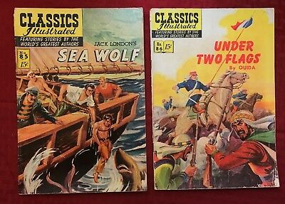Classics Illustrated lot #85 [O] - Sea Wolf, #86 Under Two Flags 1951 Gilberton