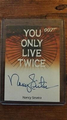 James Bond trading card signed by Nancy Sinatra. Theme song You Only Live Twice.