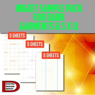 "Heat Transfer Paper Inkjet Sample Pack For Dark Garments 8.5""x11"""